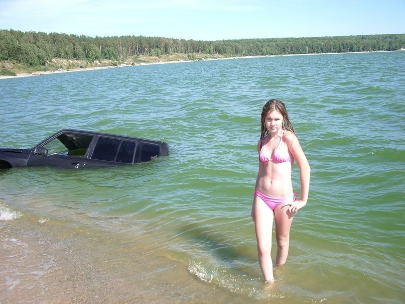 our car crashed and I'm casually coming out of the water when the camera went off, I am not a model