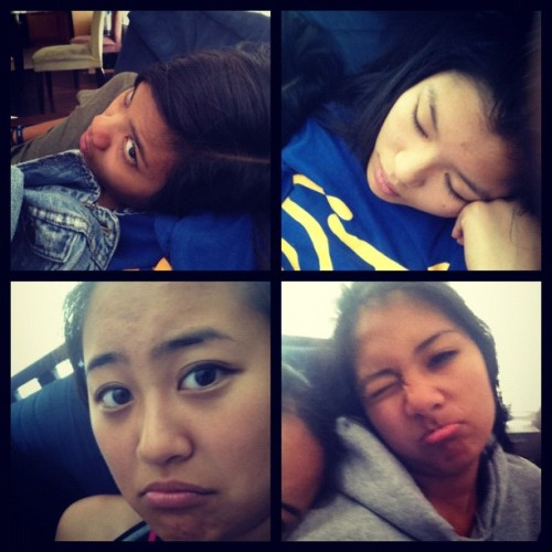 briana-roque:  😲💤 @joanneizzle @jasminetann @twinkalingellen (Taken with instagram)  Lolol the girls bummin' it, lookin' like they're dying after a long night over here at my brother @ejaayyy's pad.