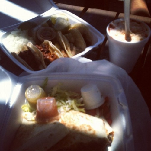 tacos, quesadillas, and Mexican corn  (Taken with Instagram at Fuel City)