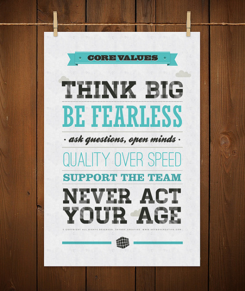 dancinmagz:  by9:  Core Values Poster by skyboxcreative