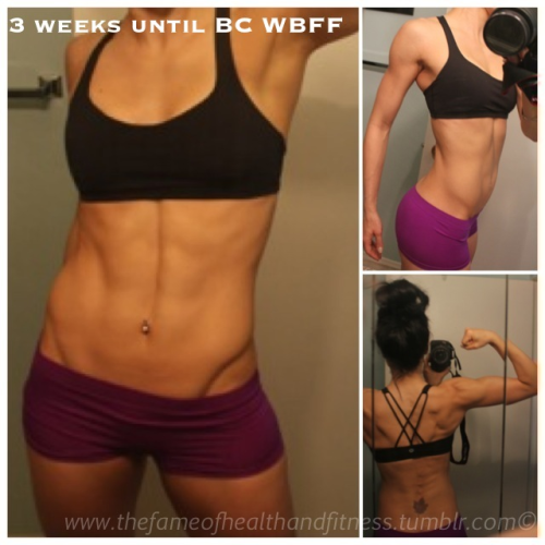 In 3 weeks from today I will compete with the WBFF for the first time. This is where I stand today. Cardio, weights, and abs are complete for today! 21 days left to go! Let's do this!