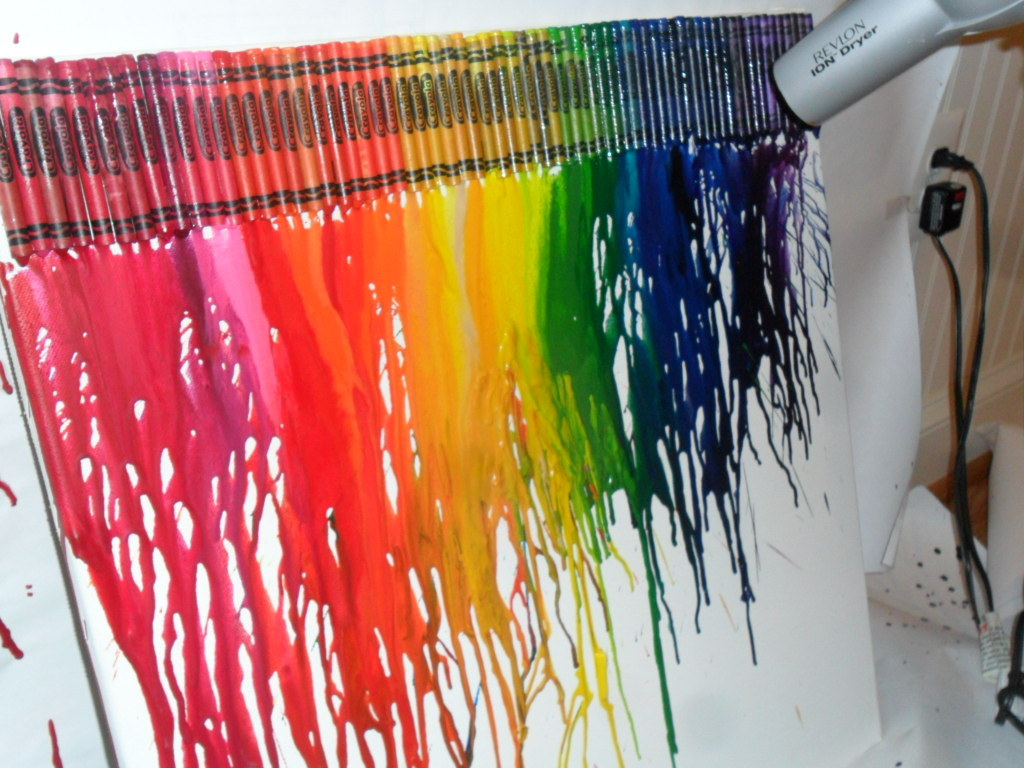 melted crayon painting