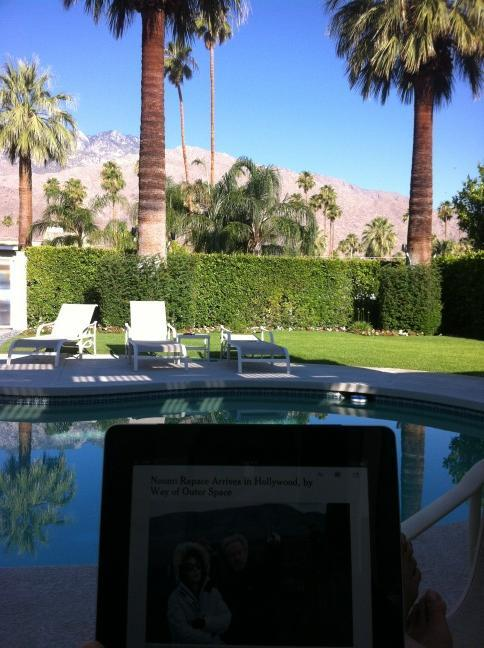 Early morning poolside in Palm Springs with New York Times on iPad ‪—@jerwyn