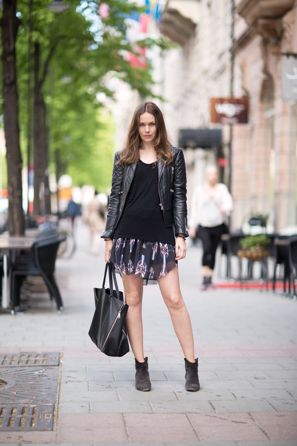 Skirt + boots from Isabel Marant, tee from Wang, jacket from Balenciaga and bag from Celine.