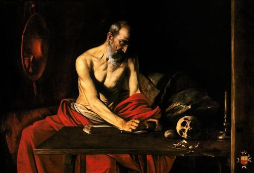 "twelvedecibelstatic:  Caravaggio's ""Saint Jerome Writing"" (c. 1607)"