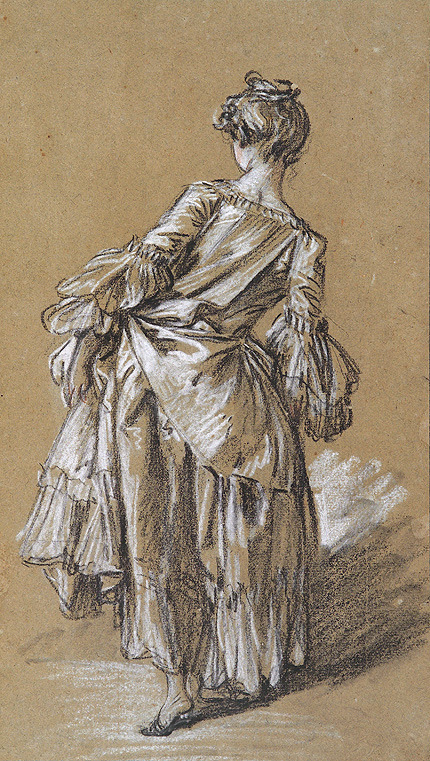 Standing Woman Seen From Behind by François Boucher (1703-1770)