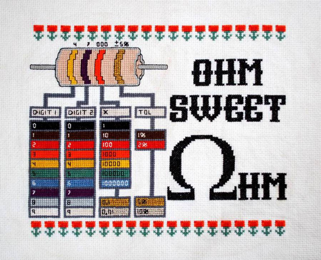 laughingsquid:  Ohm Sweet Ohm Cross-Stitched Resistor Reference Chart
