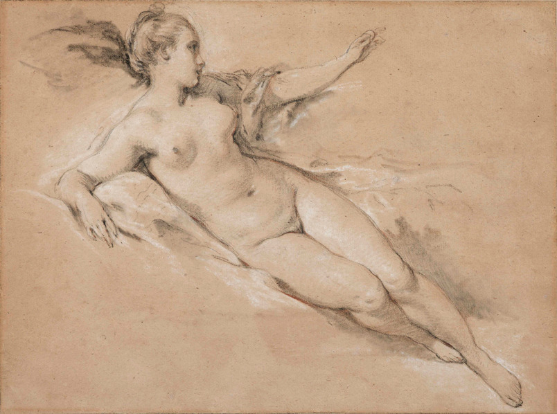 Reclinging Nude with Outstretched Arm by François Boucher (1703-1770)