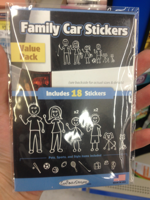 "[Image: photo of ""family"" car stickers portraying a nuclear family of one mom and one dad]  So I found this while shopping for stuff for my new apt. The fact that a nuclear family is portrayed is fine, but I'm taking issue with the fact that THE nuclear family was the only option available to consumers."