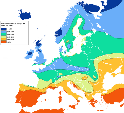So you know, how much sunshine different regions of Europe get per year.