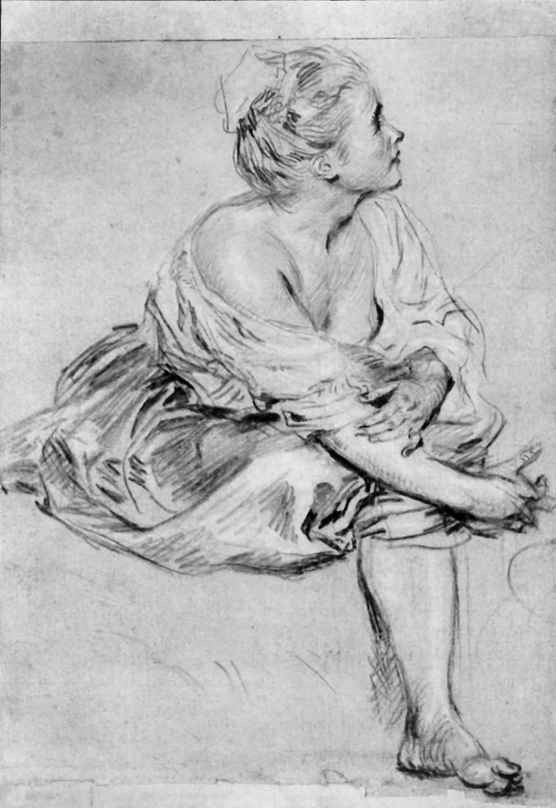 A Seated Woman by Antoine Watteau (1684-1721)