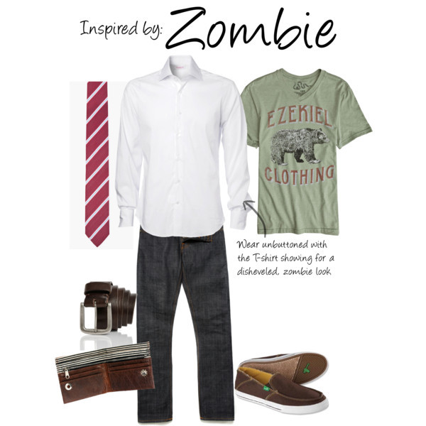 "Zombie (Plants Vs. Zombies) by ladysnip3r featuring screen print tees   This outfit is inspired the Zombie of Plants Vs. Zombies. I chose to do a button up that can be worn unbuttoned to give a sort of ""zombie"" look without any of those rips. I also chose a t-shirt in the same colors as the Zombie's skin color. I found basically the same tie that the Zombie wears and paired that with dark brown accessories. This outfit is pretty casual, even though it has a tie, and could be worn pretty much anywhere. (Reference Image)  Ezekiel screen print tee, $27Slip on shoes, $59Roots leather belt, $40TIGER OF SWEDEN Maroon Silk Blend Tie, $70River Island Wallet, $26"