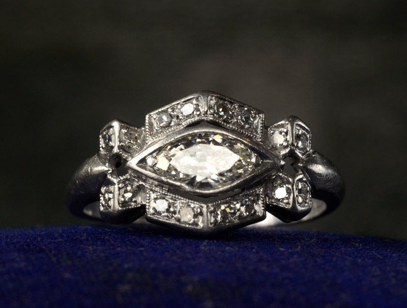 eriebasin:  1920-30s Art Deco Marquise Diamond Platinum RingSingle Cut & Early Marquise Cut Diamonds, Approx. 0.90ctw, $2750