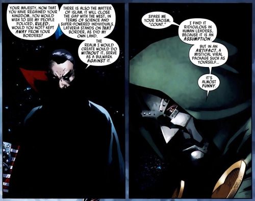 Captain Britain and MI13 # 10  Doom doesn't approve of racism. …Also isn't impressed by vampires. At all.