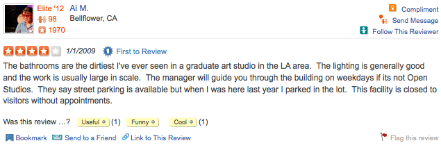 Here is a Yelp review of the grad art building to get you pumped for Open Studios (which start in an hour!). Come out to Culver City!