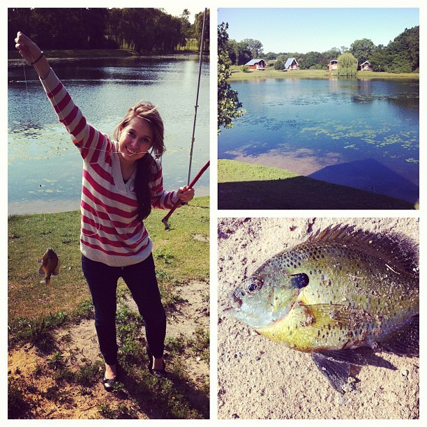 I caught a Green Sunfish! That makes two fish today :) (Taken with instagram)