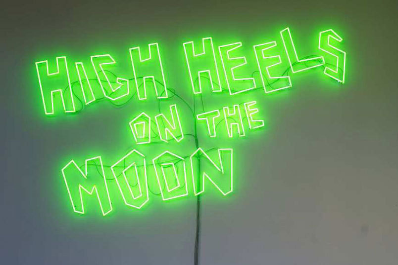 Sylvie Fleury. High Heels on the Moon, 2005.   Courtesy Galerie Mehdi Chouakri, Berlin.