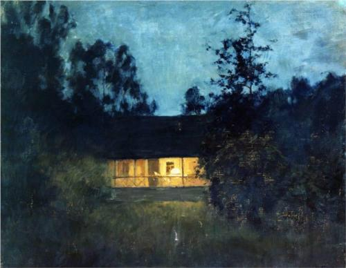 sugarmeows:  At the Summer House in Twilight (c.1895) – Isaac Levitan