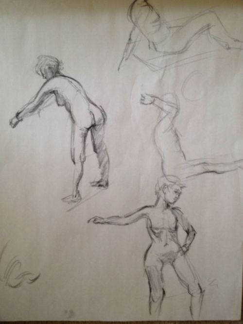 Figure drawings again— these are from my life drawing session today. :) We had a new model.