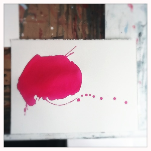 Drawing, beautiful pour of magenta ink. Flea, brain, blood.