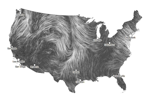 Wind Map:  An invisible, ancient source of energy surrounds us—energy that powered the first explorations of the world, and that may be a key to the future.  This map shows you the delicate tracery of wind flowing over the US.  Visualize wind patterns— in near real-time! (via Per Square Mile)