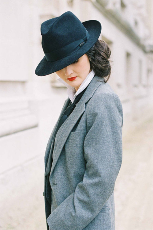 Peony Lim by Vanessa Jackman  aaahh, i love this cut (and the hat, of course) and altogether it looks so sharp.(and i think i spy a tie there as well.)