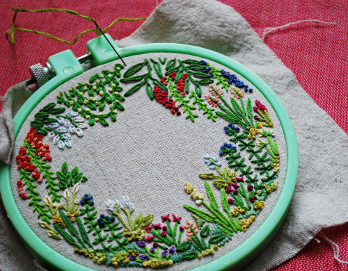 Beautiful!   by misslilamae  a tiny garden filled with tiny flowers. 3.5x4 inches, cotton floss on recycled linen.