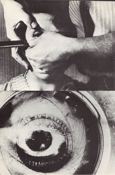 "film still from ""un chien andalou,"" a 1929 silent surrealist short film by Luis Buñuel and Salvador Dalí."