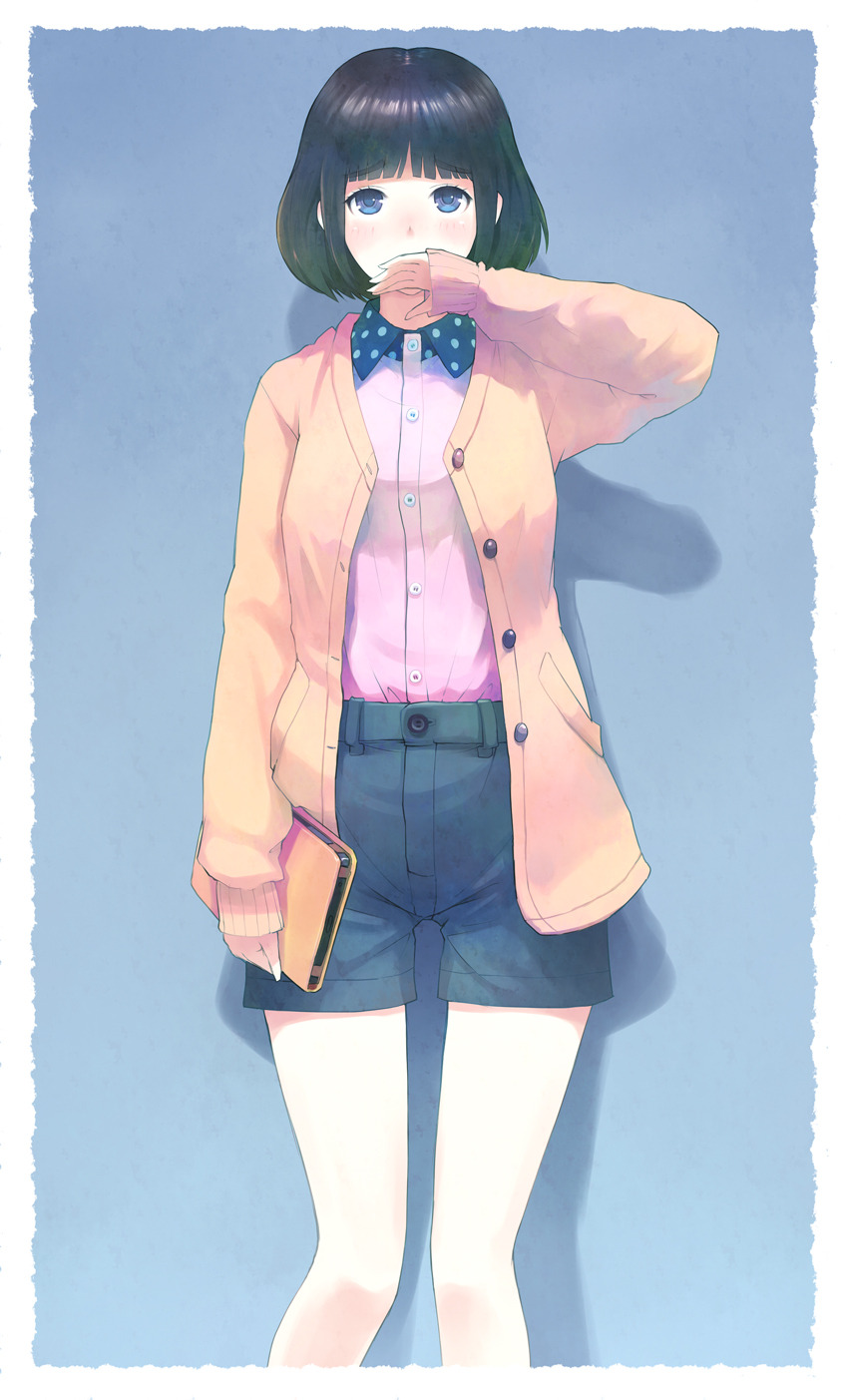 1girl black hair blue eyes cardigan covering mouth efmoe open cardigan original short hair shorts solo | Sankaku Channel