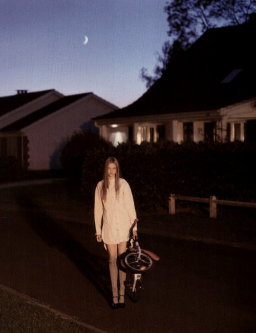 Suburbia. Vlada Roslyakova in Prada Spring 2006, photographed by Alasdair McLellan for Pop, S/S 2006.
