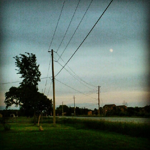 #sky #moon #hydropoles #powerlines #houses #trees #road (Taken with instagram)