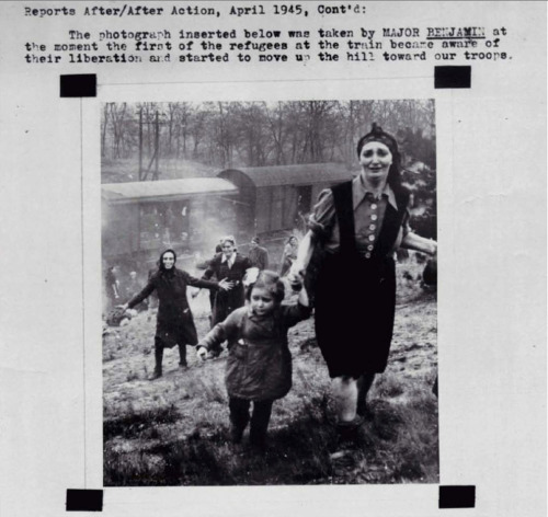 "gedenkenbrauchtwissen:  fyeah-history:  Jewish prisoners at the moment of their liberation from an internment camp ""death train"" near the Elbe in 1945  Liberation photos are so chilling to me.  The expressions on their faces speak volumes."