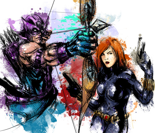superpuppet:  Hawkeye and Black Widow together :D