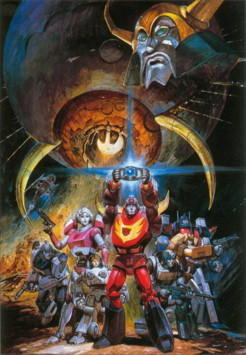 kayharlow:  monzo12782:  Japanese poster for 1986's The Transformers: The Movie, scanned from the Transformers: Generations guidebook. An older scan, but the relative graininess helps the atmosphere of the image, I think, giving it a more worn look.  _k.  -AA