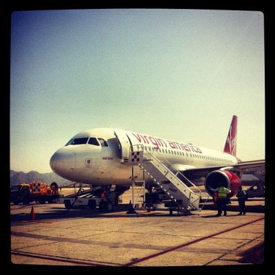 Preparing to depart Cabo - Virgin America flight (Taken with instagram)