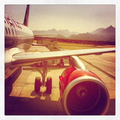 Virgin America plane - Cabo airport (Taken with instagram)