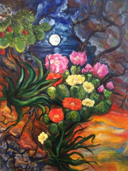 Hope.  Oil on canvas.  4'x3'.  2011.  This painting was constructed from a handmade collage.  I used cacti, cacti flowers and fruit, agave, and the mesquite tree. These types of plants have one thing in common; their ability to adapt to severe environments.