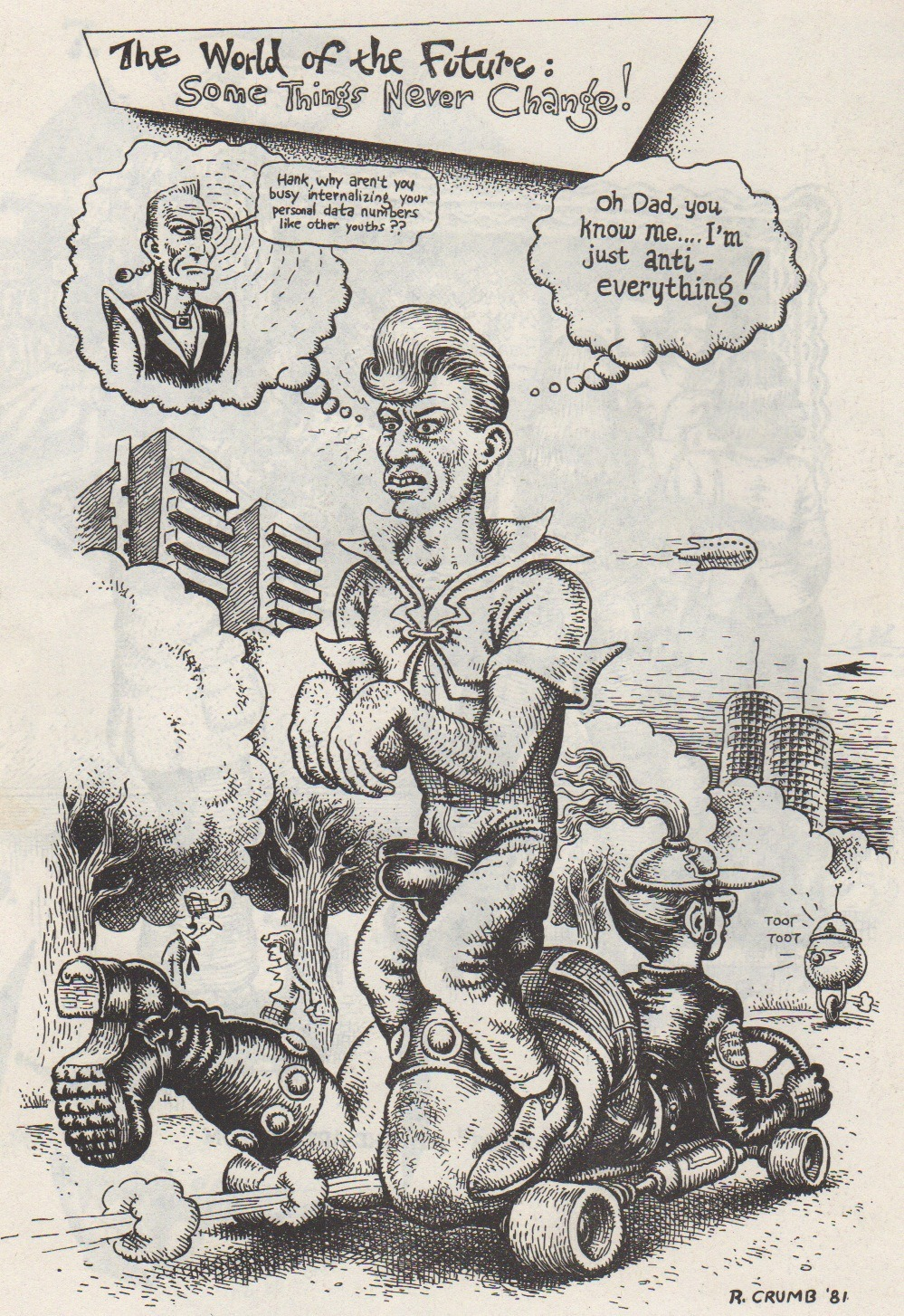 """The World of the Future: Some Things Never Change!"", by R. Crumb 1981. Scanned from Weirdo Number 2, Last Gasp Eco-Funnies, 2nd printing July 1981"