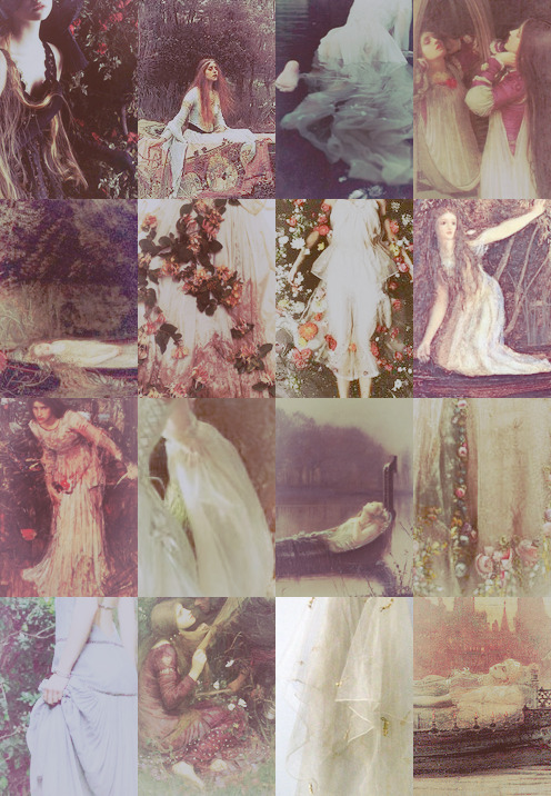 a shrine of flowers to dress her boat, floating in her rosy dusty gowns, her pale dress flows like the lilies in the river, the lilies of her grave. she breathes an icy nest of air, cobweb lungs, having no one to kiss the water from her dreary wrist, the lilies overgrowing her heart Heard a carol, mournful, holy, Chanted loudly, chanted lowly, Till her blood was frozen slowly, And her eyes were darken'd wholly, Turn'd to tower'd Camelot. For ere she reach'd upon the tide The first house by the water-side, Singing in her song she died, The Lady of Shalott.