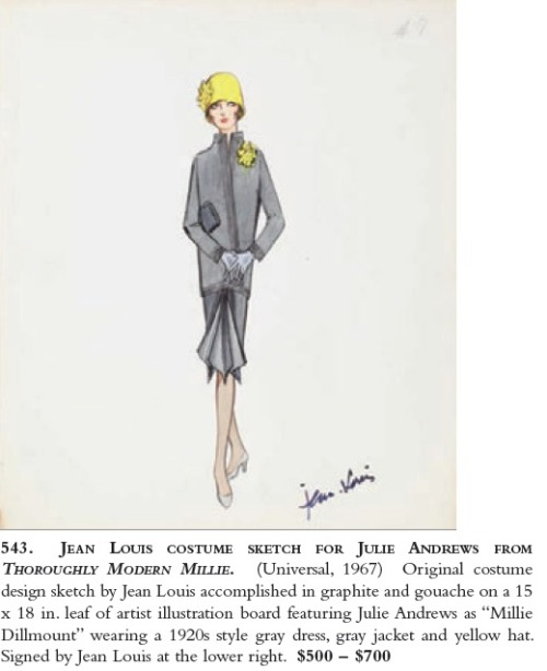 A costume sketch from Thoroughly Modern Millie