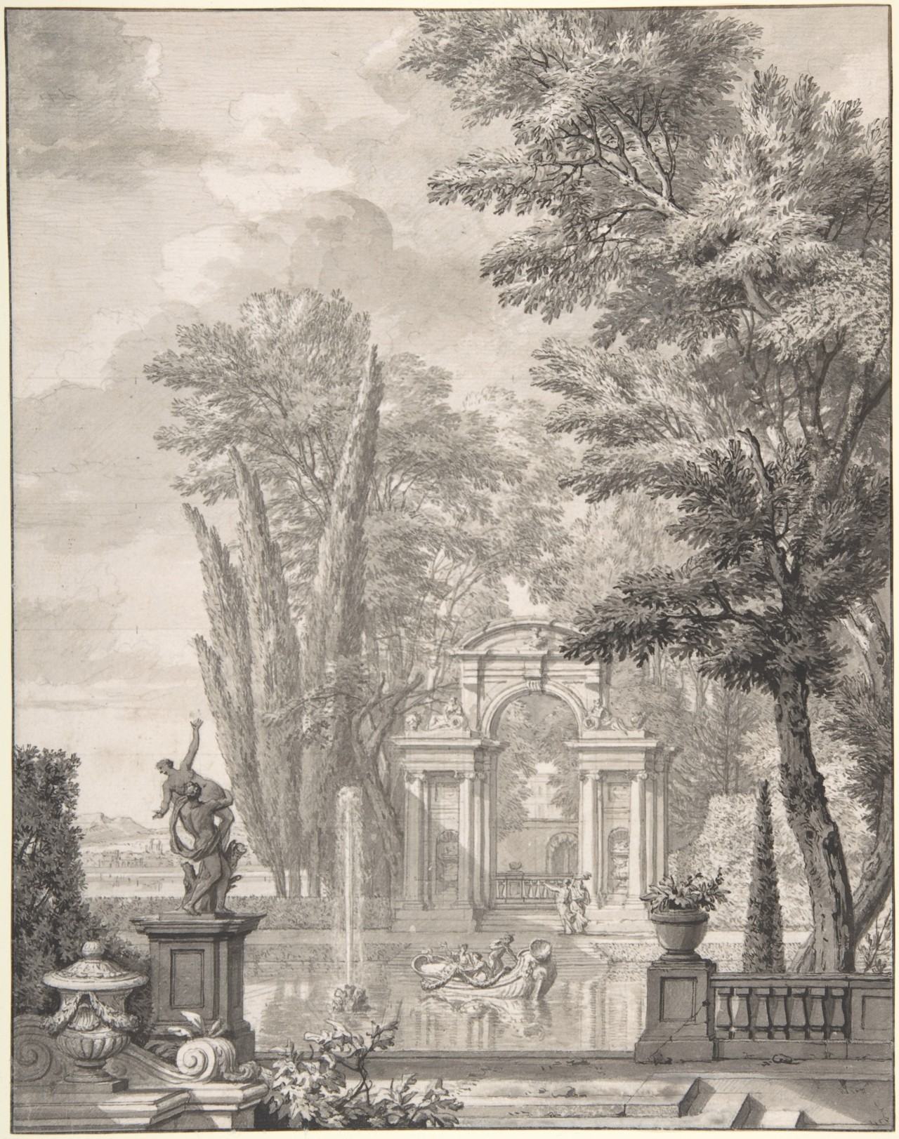 Landscape with Architecture, ca. 1730 Isaac de Moucheron (Netherlandish, 1667–1744) This drawing by Isaac de Moucheron, dated ca. 1730, illustrates an imaginary Italianate garden filled with classical architecture and statuary. Beautiful in its own right and much sought after by collectors, the main idea and composition of this drawing may have been used for a larger wall design, carrying the nostalgic atmosphere of a lost arcadia into the Northern European mansion.