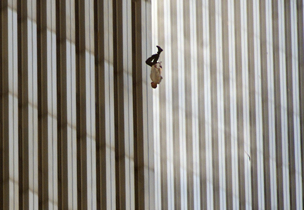 A person falls from the north tower of New York's World Trade Center in this Sept. 11, 2001 file photo, after terrorists crashed two hijacked airliners into the World Trade Center and brought down the twin 110-story towers.