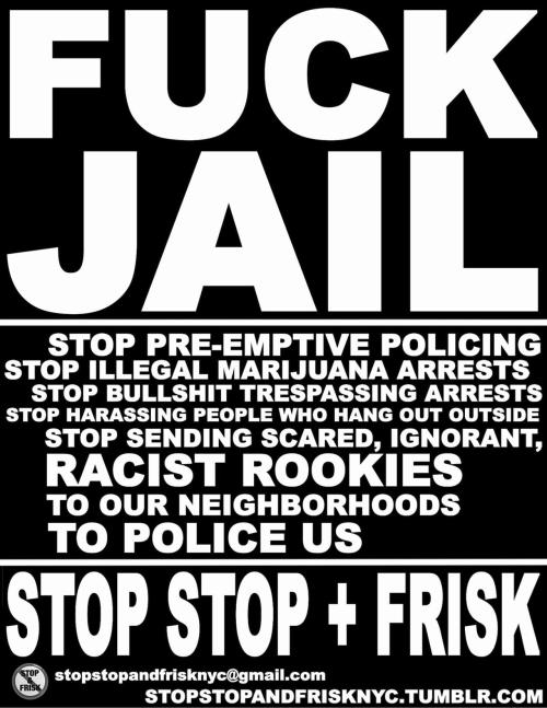 Follow @StopandFriskNYC for the latest on grassroots efforts to end racist, violent, illegal policing in our city.