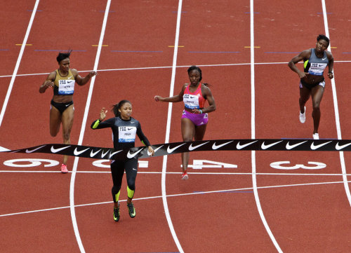 EUGENE, OREGON - Allyson Felix finishes first in the 200m at the Prefontaine Classic at Hayward Field in Eugene, Ore., Sat, Jun 2, 2012. Thomas Boyd/The Oregonian  (via 2012 Prefontaine Classic (Photo Essay) | OregonLive.com)