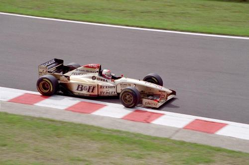 Martin Brundle for Jordan at Spa, 1996. Always thought this was one of the best liveries ever run in Formula One.