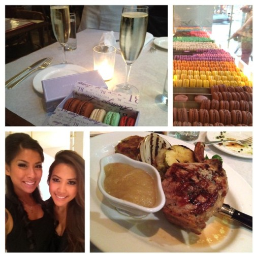 #instadaily #bottegalouie #dinner #sister #love #champagne #macaroons #dessert #foodporn #sexy #girls #tats #girlswithtattoos #random #longhairdontcare #weekend #Saturday #goodtimes  (Taken with instagram)