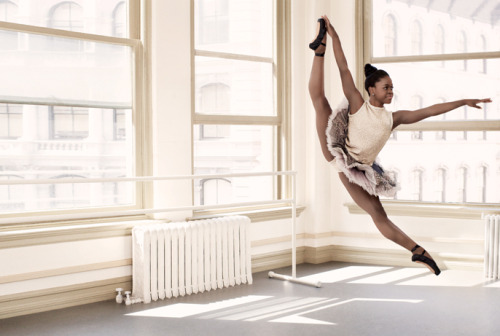 Michaela Deprince is an amazingly young and talented ballerina. She is one of the subjects of the upcoming documentary 'First Position'.  The documentary is about dancers competing in a ballet competition.  Here is the link to the Teen Vogue article about her: http://www.teenvogue.com/connect/2012/05/teen-ballerina-michaela-deprince#intro