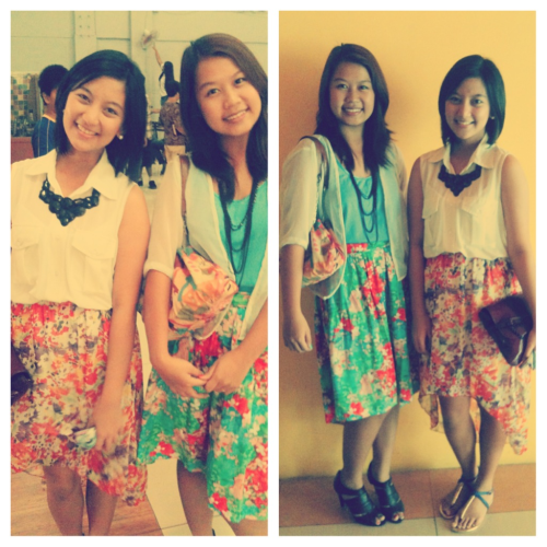 lovin our outfit for our Sunday service ;))   im wearing Floral mullet skirt from Landmark,White sheer top,blue with gold details from HYD, :)) love love love! ;)