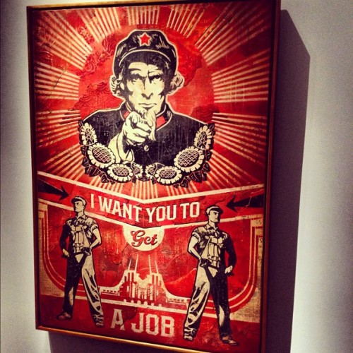 Shepard Fairey ( @obeygiant ) bats lead off for Perry Rubenstein's New LA gallery (Taken with instagram)
