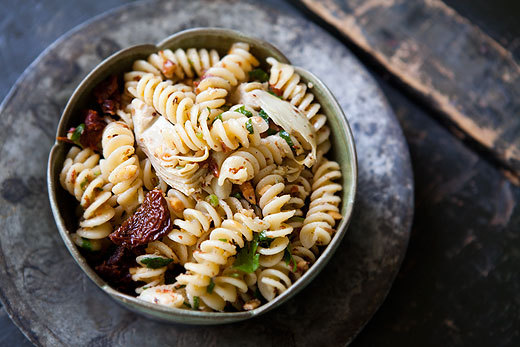 Pasta with Artichoke Hearts, Sun-Dried Tomatoes & Almonds, Recipe.